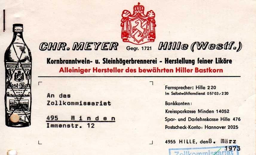 1973 - auch Steinhäger-Brennerei