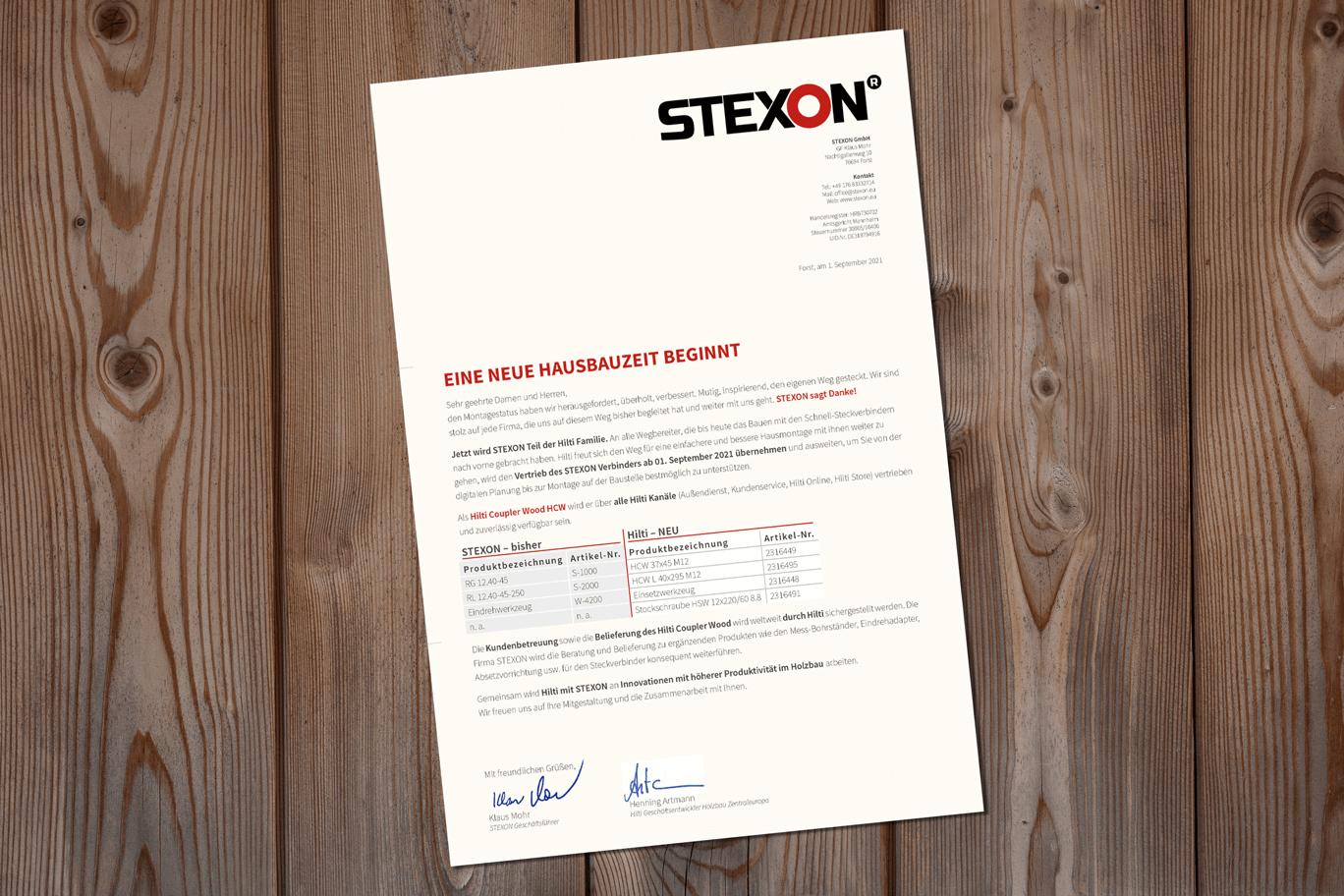STEXON wird Teil der Hilti Familie