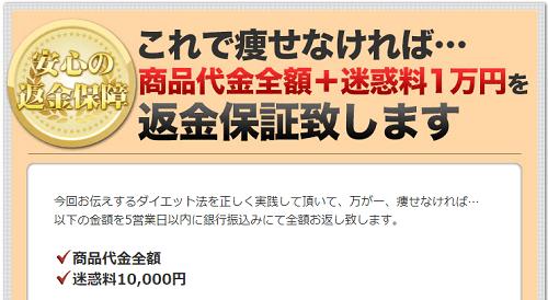 【荒木式】断糖肉食ダイエットは商品代金全額+迷惑料1万円の返金保証付き