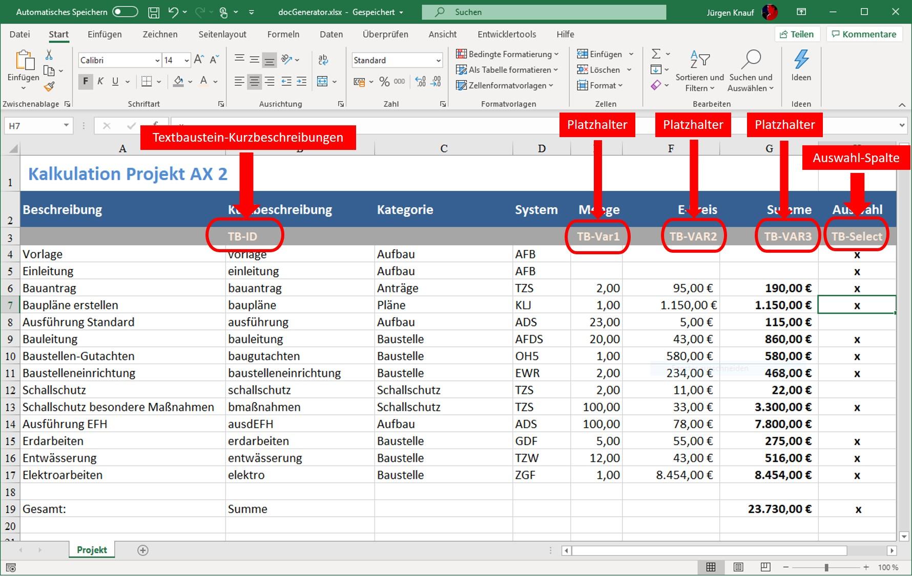 Excel Schnittstelle / Creator   Dokumente automatisieren