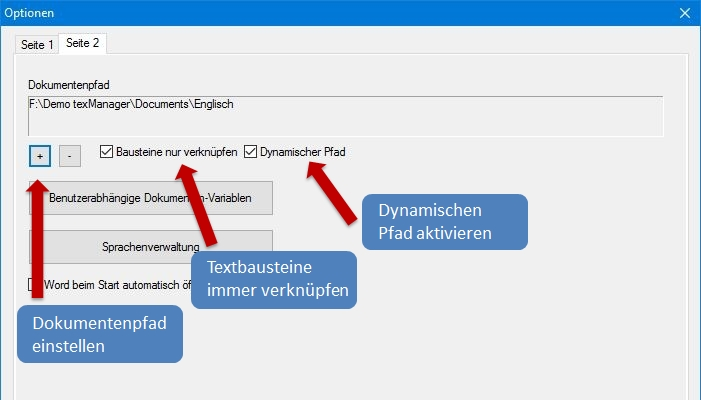 Dynamischer Pfad und verknüpfte Textbausteine