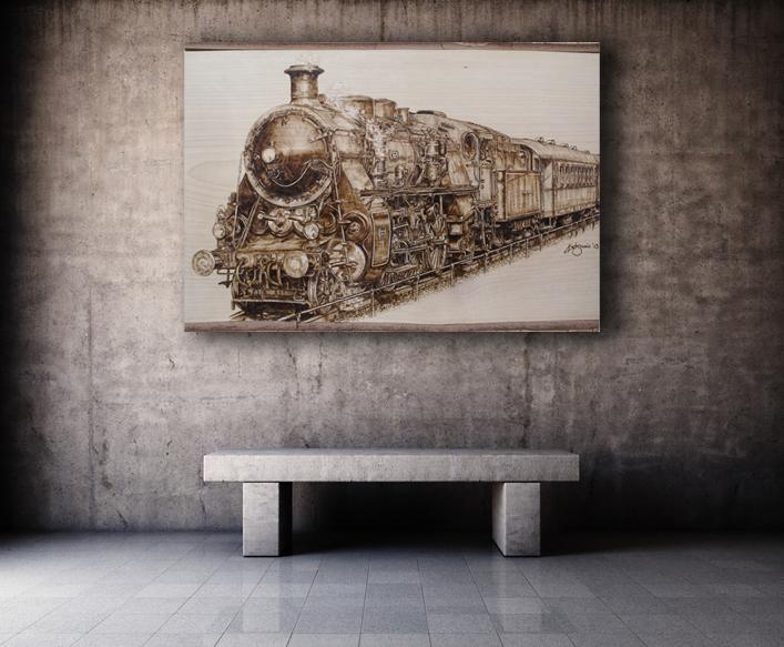 Dampflokomotive S 3/6 in Brandmalerei