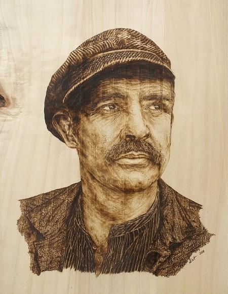 "Portrait ""Sean Connery"" - Recycling mit Brandmalerei"