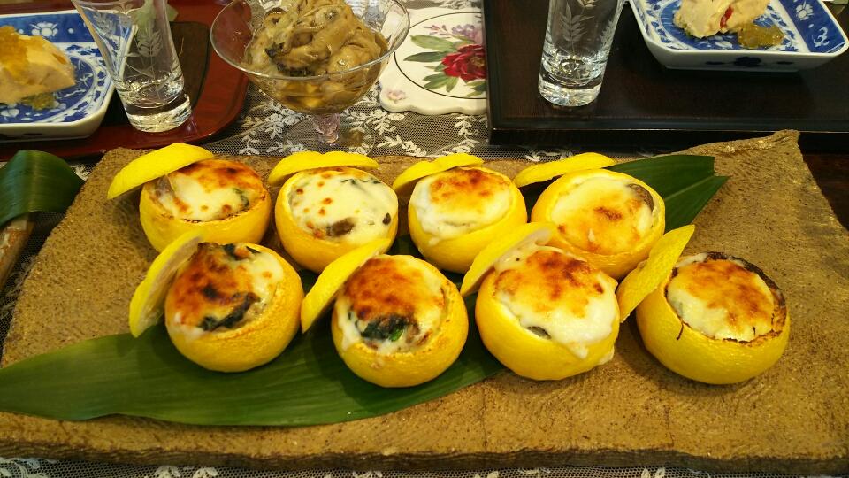 牡蠣のグラタン柚子釜