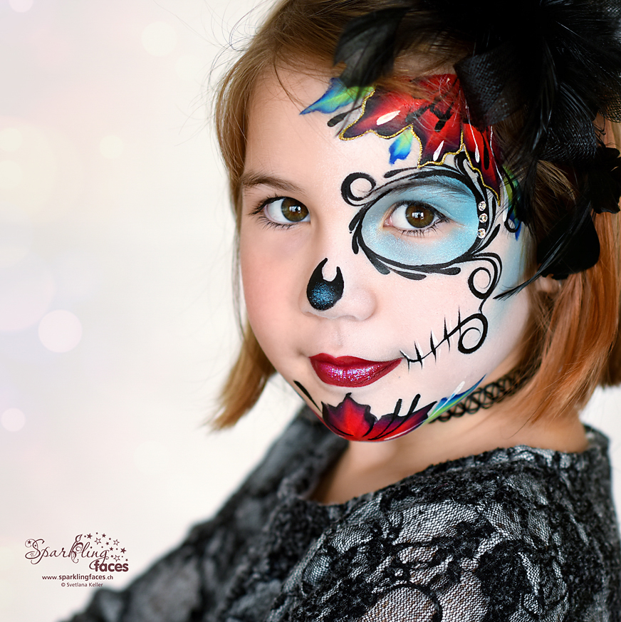 Kinderschminken_Vorlagen; Schminkfarben_kaufen_Schweiz; Kinderschminken_Kurse; einfach; Sugar Skull