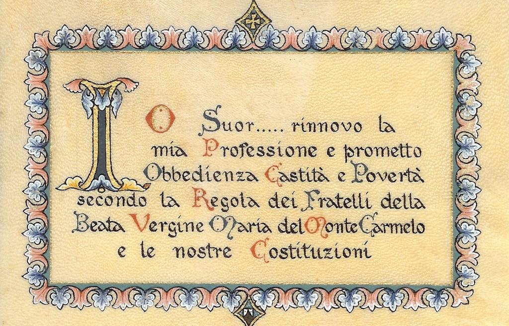 Una cedola di professione su pergamena