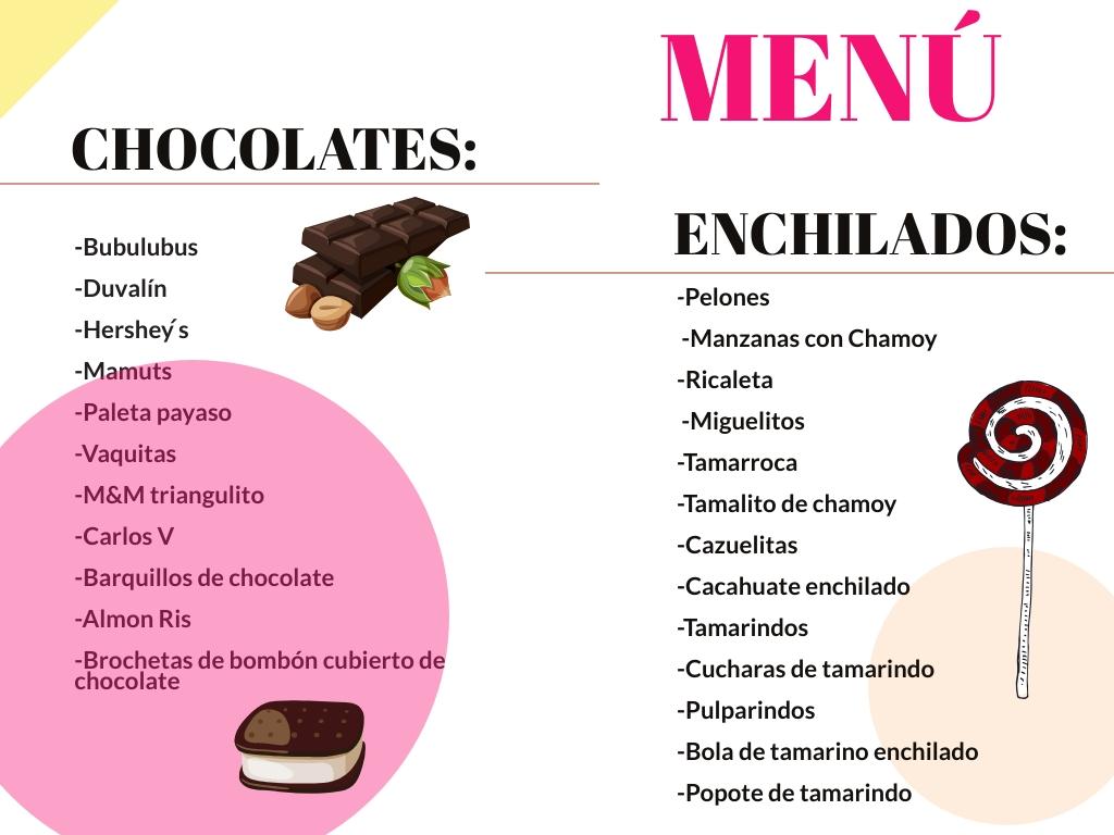 lista de dulces para eventos