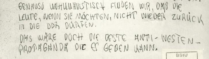 Ausschnitt aus dem Brief von Frau Glaser an den Bürgermeister von Rostock