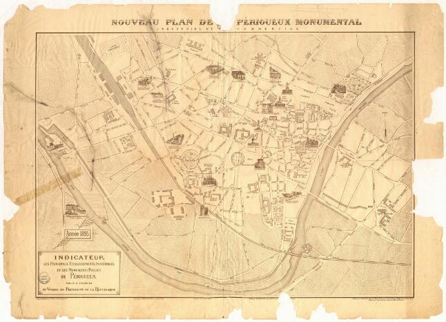 1895 - Plan du Périgueux Monumental et des principales entreprise