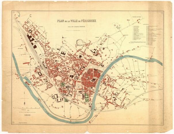 1880 - Plan de la Ville de Périgueux par le Capitaine Regheere. Canal, Port et Moulins