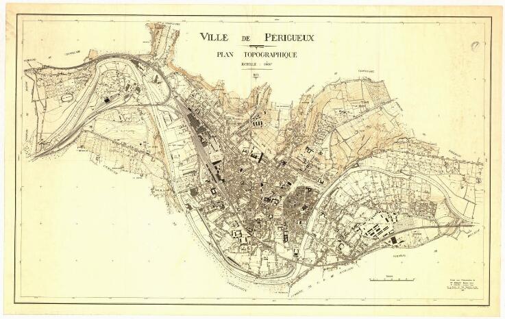 1933 - Plan topographique de Périgueux. Pointerie et câle sèche du bassin