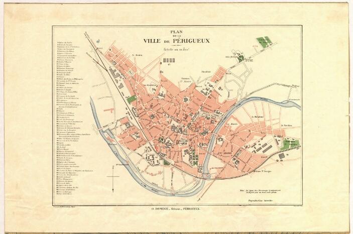 1890- Plan de la Ville de Périgueux