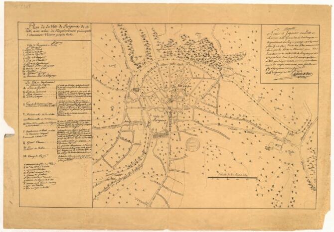 1773- Plan de la Ville. A remarquer: le Pont de la Cité et le barrage 100 ans avant le canal et le port.