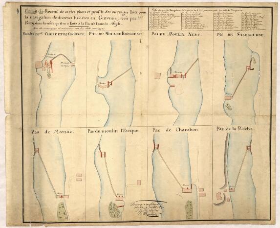 """1696 - Dessins de M. Ferry. """"Pas de navigation"""" sur l'Isle autour de Périgueux"""