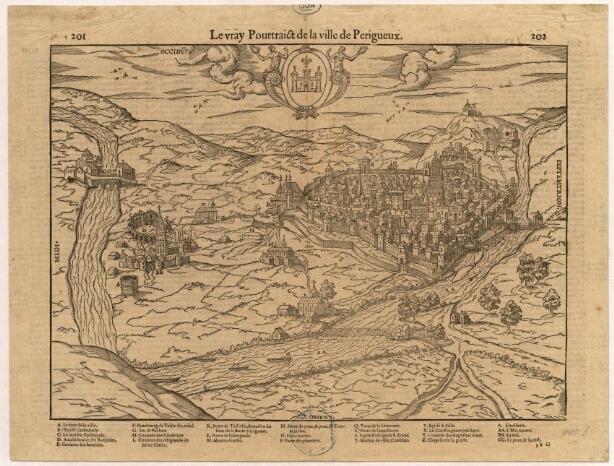 1575 - Cosmographie Universelle de Belleforest. Les deux villes. Ponts médiévaux et barrage Sainte Claire
