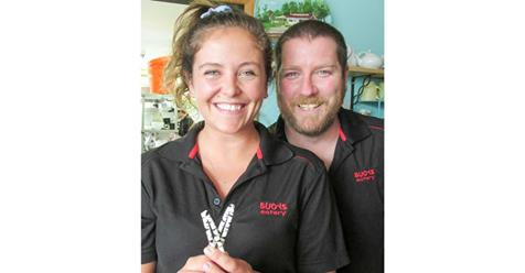 In photo is Buoys employee Delaney Campbell and business owner Richard Anger.