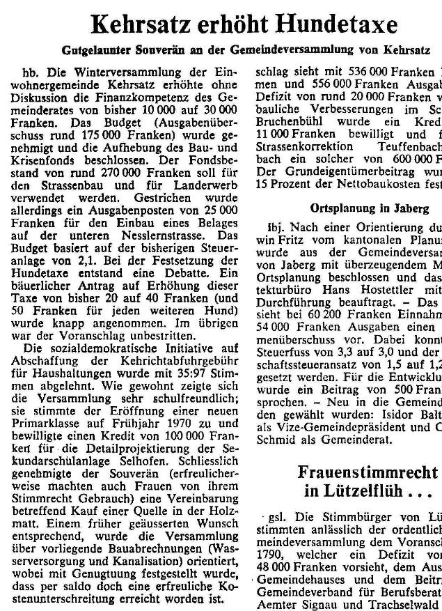 1969.12.17 - Der Bund - Kehrsatz erhöht Hundetaxe