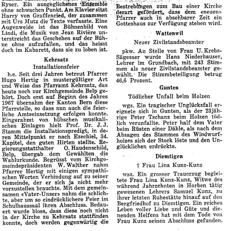 1967.05.03 - Der Bund - Installationsfeier