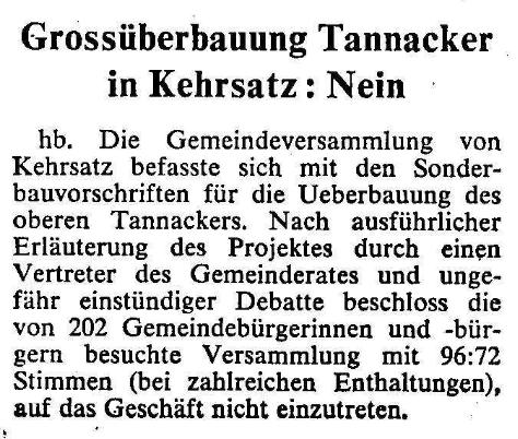 1969.02.25 - Der Bund - Nein zur Grossüberbauung