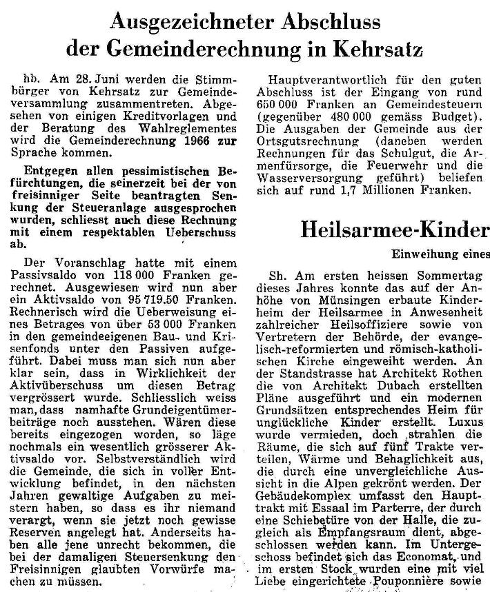 1967.06.26 - Der Bund - Gemeindeversammlung