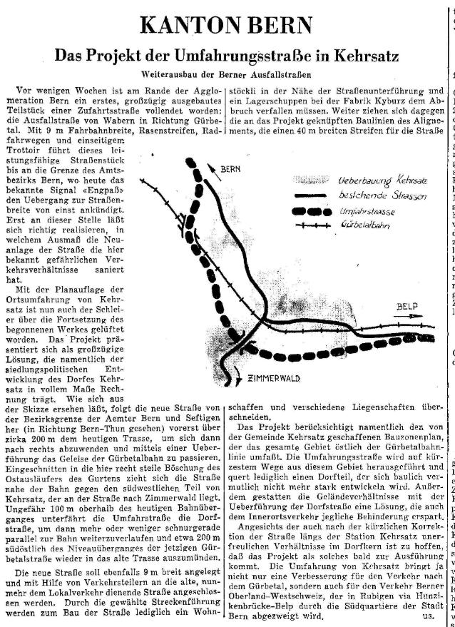 1955.12.04 - Der Bund - Projekt Umfahrungsstrasse