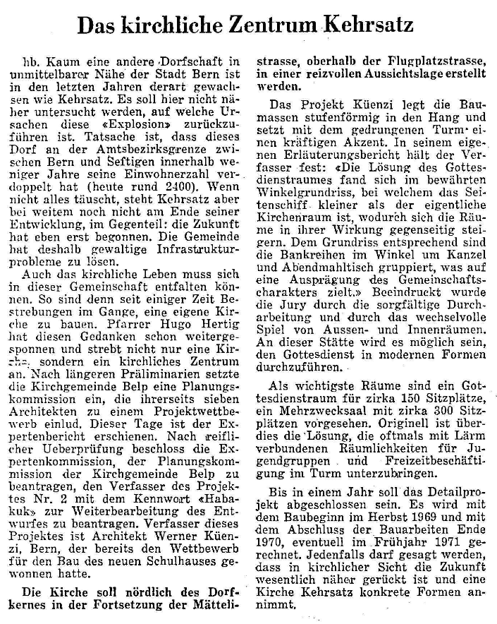 1968.12.05 - Der Bund - Kirche Kehrsatz