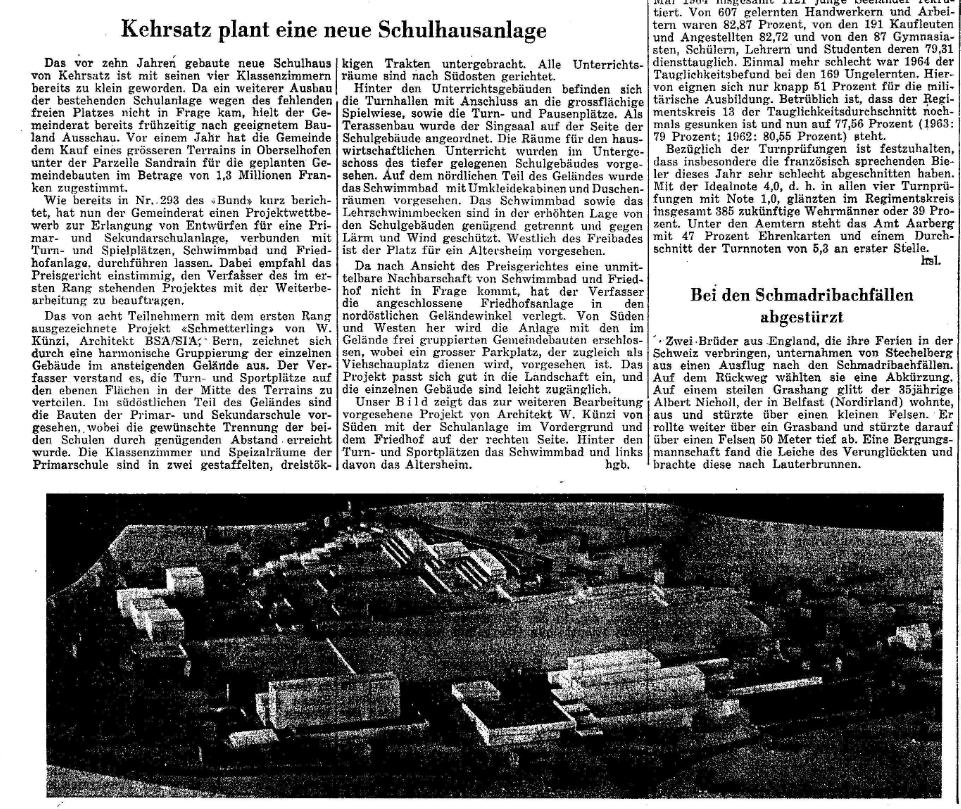 1964.07.15 - Der Bund - Neue Schulanlage