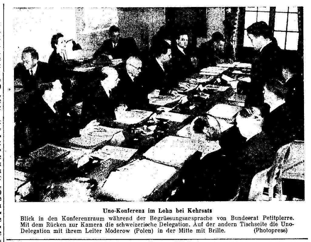 1946.04.06 - Der Bund - Uno Konferenz in Kehrsatz