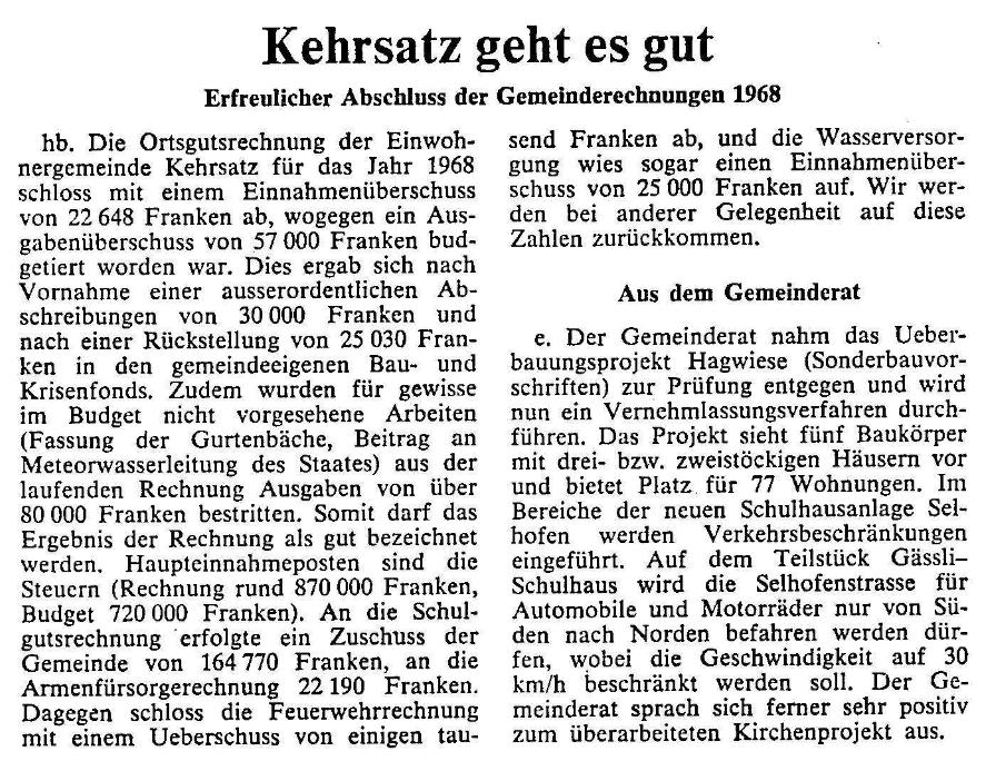 1969.05.25 - Der Bund - Kehrsatz geht es gut