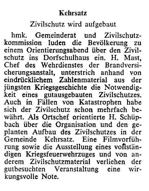 1969.05.25 - Der Bund - Zivilschutz wird aufgebaut