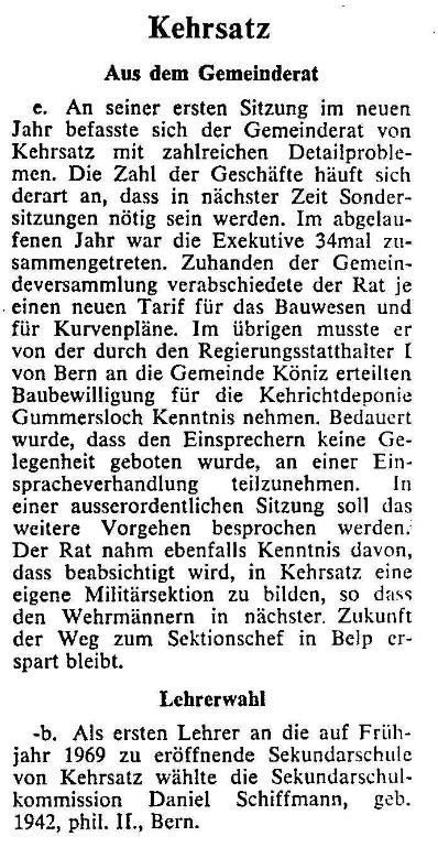 1969.01.09 - Der Bund - Aus dem Gemeinderat
