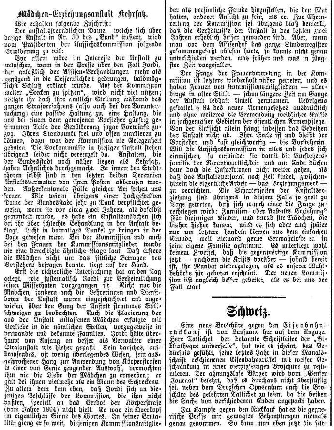 1898.02.02 - Der Bund - Mädchen Erziehungsanstalt
