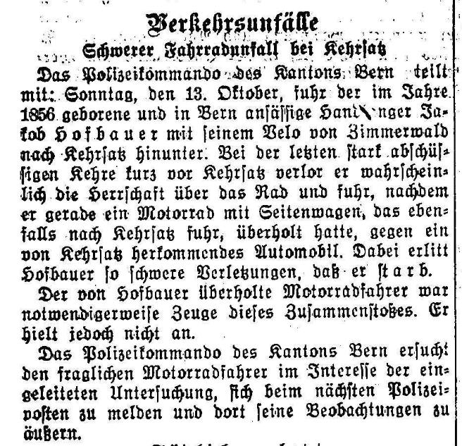 1929.10.14 - Der Bund - Schwerer Velounfall