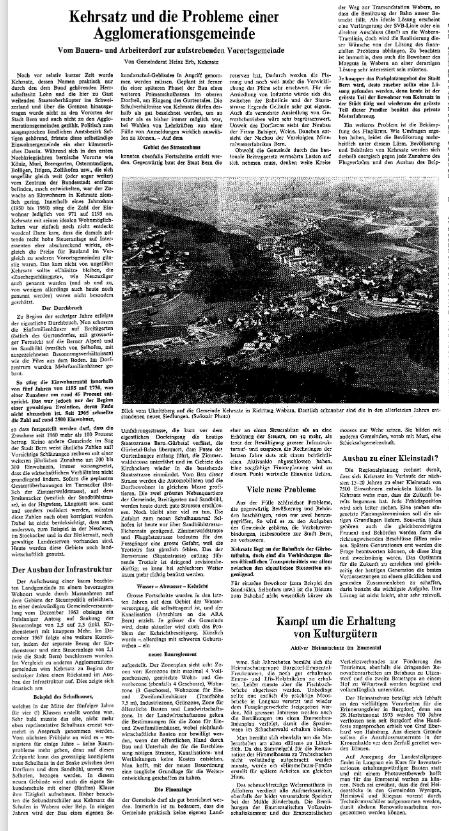 1969.01.24 - Der Bund - Aufstrebende Vorortsgemeinde