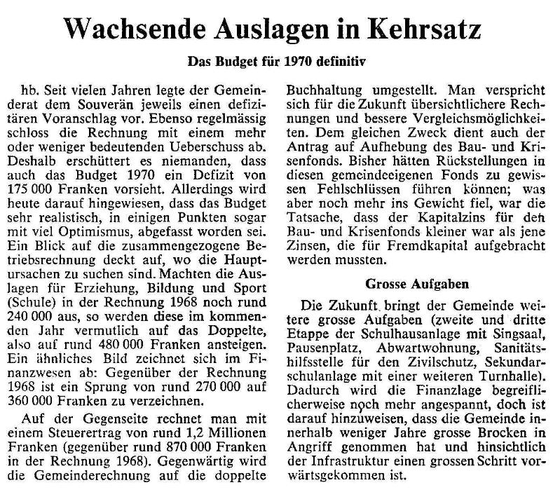 1969.11.25 - Der Bund - Wachsende Ausgaben