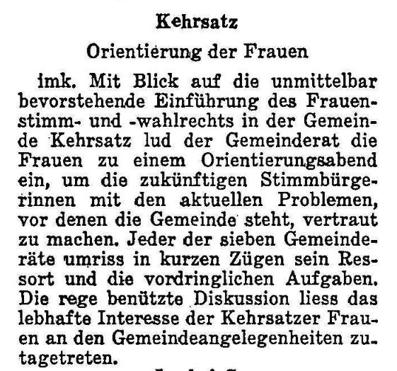 1968.12.10 - Der Bund - Frauenstimmrecht Kehrsatz