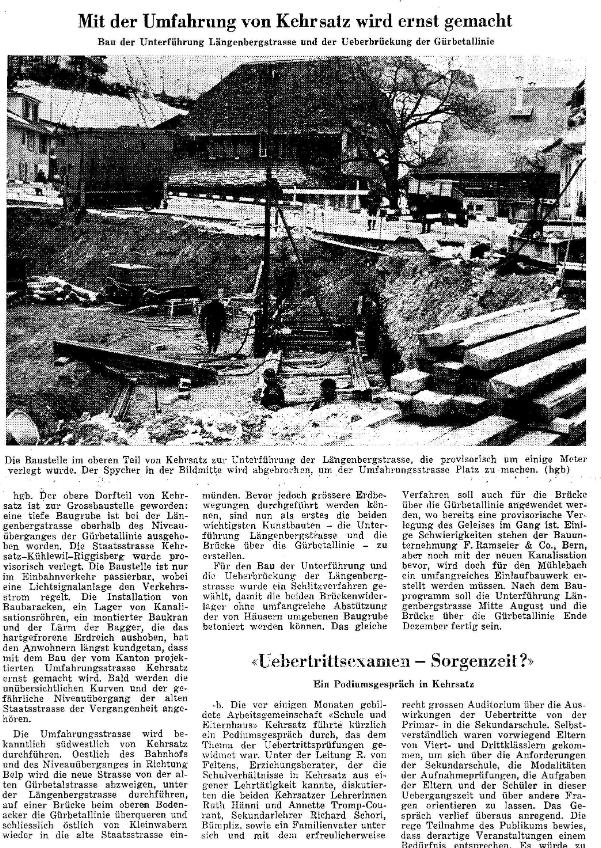 1968.01.26 - Der Bund - Bau Umfahrungsstrasse