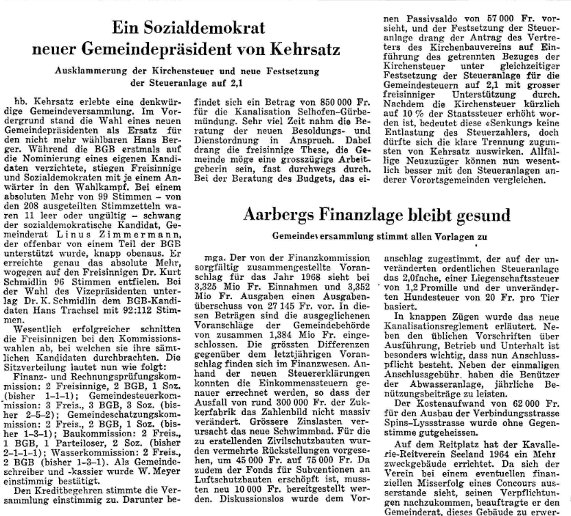 1967.12.18 - Der Bund - Gemeindepräsident Wahl