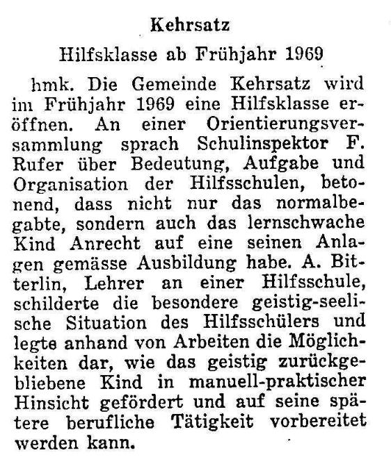 1968.11.10 - Der Bund - Hilfsklasse
