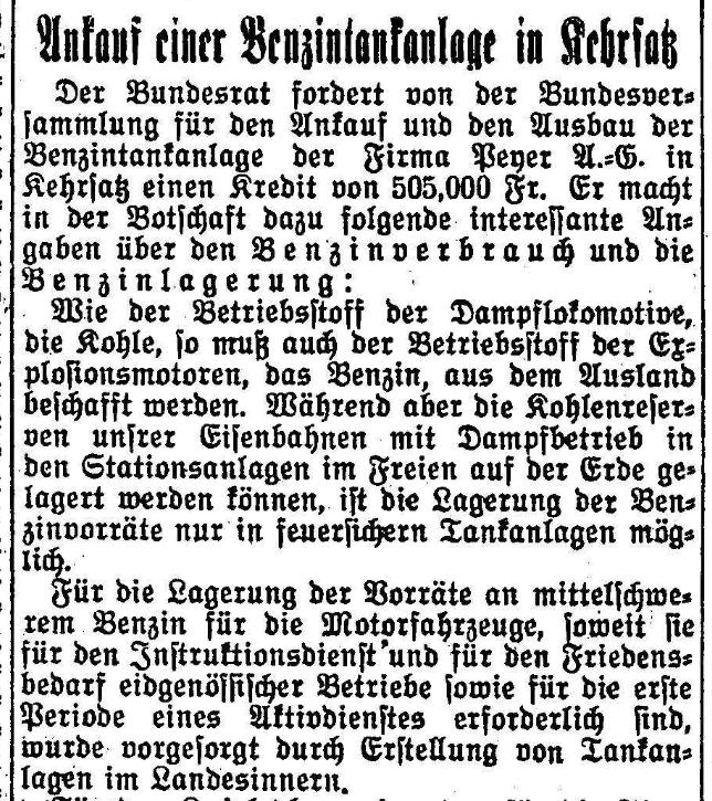 1928.03.20 - Der Bund - Kauf einer Tankanlage
