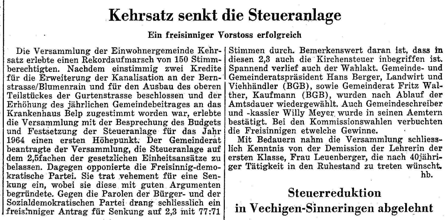 1963.12.18 - Der Bund - Steuersenkung