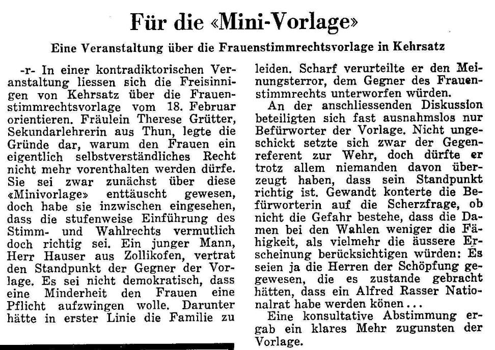 1968.02.11 - Der Bund - Frauenstimmrecht