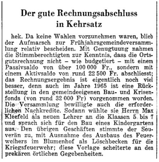 1966.06.22 - Der Bund - Rechnungsabschluss