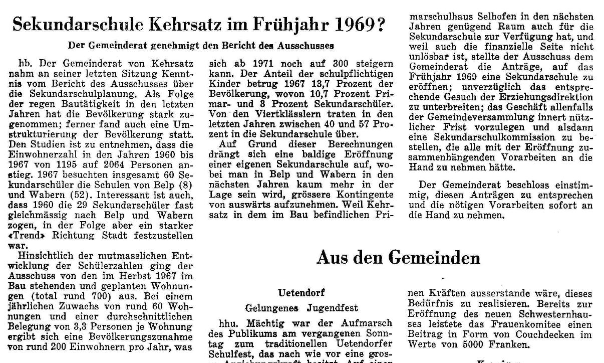 1968.04.26 - Der Bund - Sek Kehrsatz