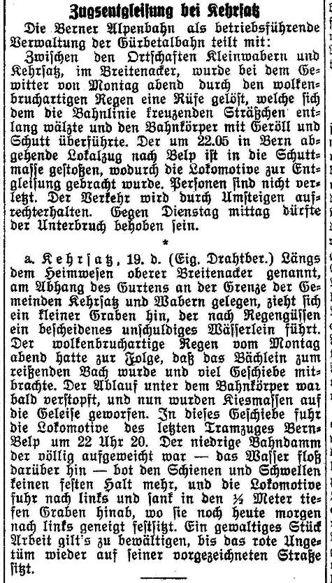 1925.05.19 - Der Bund - Zugsentgleisung