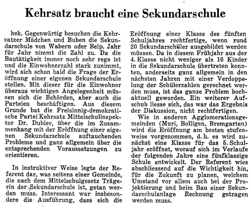 1967.05.16 - Der Bund - Kehrsatz braucht Sek