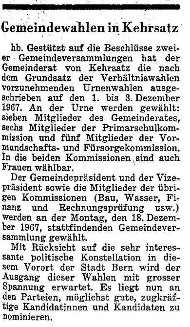 1967.10.20 - Der Bund - Vorschag Gemeinderatswahlen