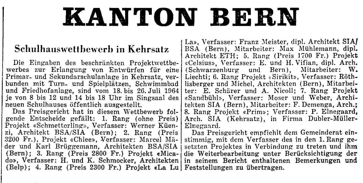 1964.07.13 - Der Bund - Schulhauswettbewerb
