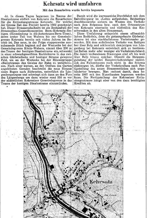1967.03.01 - Der Bund - Baubeginn Umfahrungsstrasse