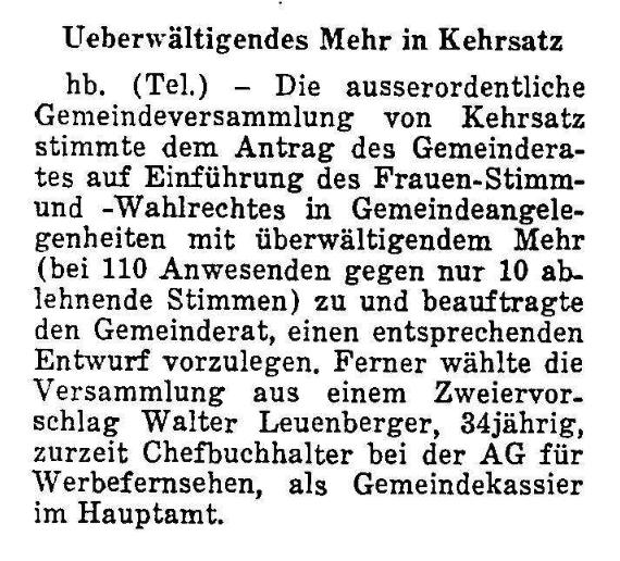 1968.05.14 - Der Bund - Frauenstimmrecht